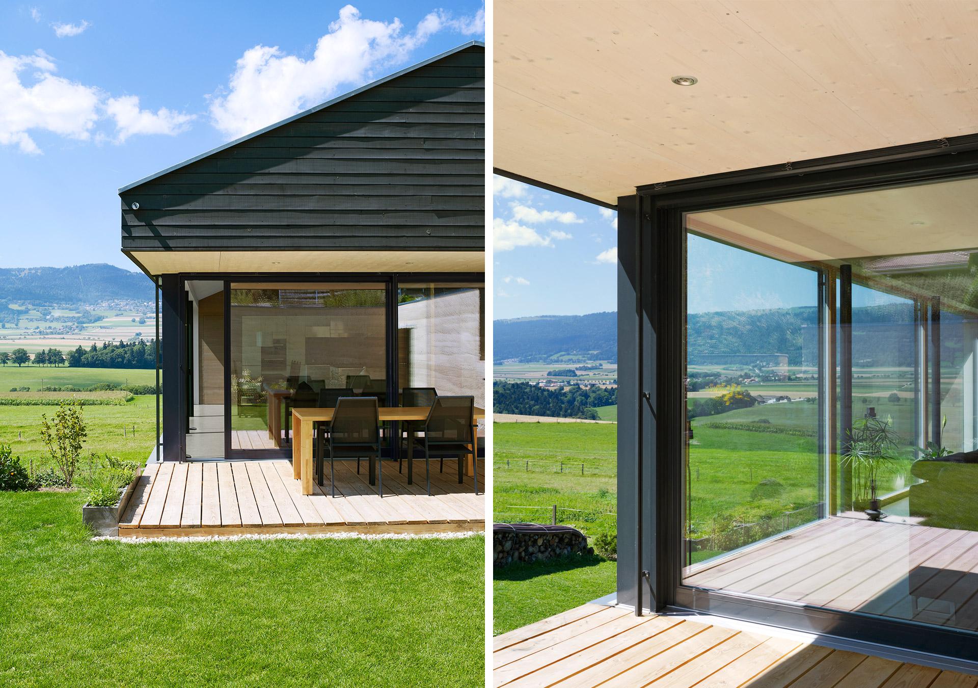 schaerholzbau ag aussen und innen verbinden fenin. Black Bedroom Furniture Sets. Home Design Ideas